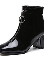 Недорогие -Жен. Fashion Boots Полиуретан Осень На каждый день Ботинки На толстом каблуке Сапоги до середины икры Черный / Красный