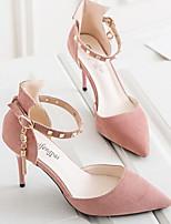 Недорогие -Жен. Комфортная обувь Замша Весна Обувь на каблуках На шпильке Черный / Розовый / Миндальный