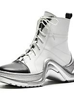 Недорогие -Жен. Fashion Boots Наппа Leather Осень Ботинки На плоской подошве Закрытый мыс Ботинки Белый / Черный