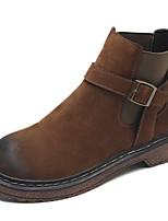 Недорогие -Жен. Fashion Boots Полиуретан Наступила зима На каждый день Ботинки На низком каблуке Круглый носок Ботинки Черный / Хаки