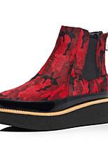 Недорогие -Жен. Fashion Boots Синтетика Зима Ботинки На плоской подошве Закрытый мыс Ботинки Желтый / Красный