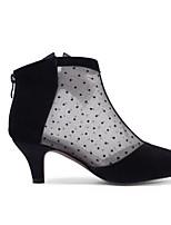 Недорогие -Жен. Fashion Boots Замша / Кожа Весна Ботинки На низком каблуке Закрытый мыс Ботинки Черный / Миндальный