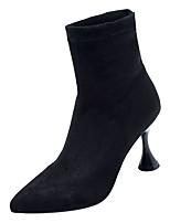 billiga -Dam Fashion Boots PU Höst Minimalism Stövlar Utsvängd klack Spetsig tå Stövletter Svart / Röd / Khaki grön