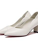 abordables -Femme Chaussures de confort Cuir Nappa Automne Chaussures à Talons Talon Bottier Blanc / Noir