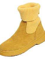 Недорогие -Жен. Fashion Boots Полиуретан Зима На каждый день Ботинки На низком каблуке Сапоги до середины икры Черный / Бежевый / Желтый