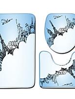 abordables -3 Pièces Moderne Tapis Anti-Dérapants Polyester Elastique Tissé 100g / m2 Créatif / Géométrique Irrégulier Salle de Bain Cool