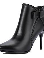 Недорогие -Жен. Fashion Boots Наппа Leather Лето Ботинки На шпильке Закрытый мыс Ботинки Черный