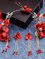 Недорогие -Жен. Красный Старинный Комплект ювелирных изделий - Искусственный жемчуг Гипсофила кисточка Включают Украшения для лба Красный Назначение Свадьба Для вечеринок