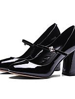 Недорогие -Жен. Балетки Наппа Leather / Лакированная кожа Весна Обувь на каблуках На толстом каблуке Черный / Красный