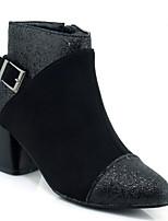 Недорогие -Жен. Fashion Boots Замша Зима Ботинки На толстом каблуке Закрытый мыс Ботинки Черный / Оранжевый / Серый