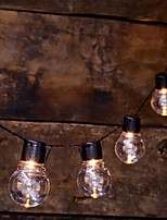 baratos -1m Cordões de Luzes 10 LEDs Branco Quente Solar / Decorativa Alimentado por Energia Solar 1conjunto