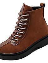 Недорогие -Жен. Армейские ботинки Замша Зима На каждый день Ботинки На низком каблуке Сапоги до середины икры Черный / Коричневый