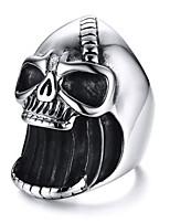 abordables -Homme Sculpture Anneau de bande Anneau de déclaration Bague - Inoxydable Crâne Punk, Hyperbole, Hip-Hop Argent Pour Soirée Bar