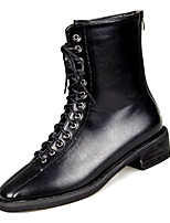 Недорогие -Жен. Fashion Boots Полиуретан Осень На каждый день Ботинки На толстом каблуке Сапоги до середины икры Черный / Хаки