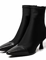 Недорогие -Жен. Fashion Boots Наппа Leather Осень Ботинки На шпильке Закрытый мыс Ботинки Черный / Миндальный / Вино