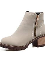 Недорогие -Жен. Fashion Boots Полиуретан Осень Ботинки На толстом каблуке Закрытый мыс Ботинки Черный / Серый / Коричневый