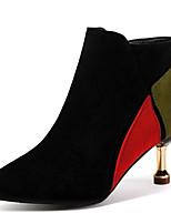 Недорогие -Жен. Fashion Boots Полиуретан Наступила зима На каждый день Ботинки На каблуке-рюмочке Заостренный носок Ботинки Черный / Зеленый / Контрастных цветов