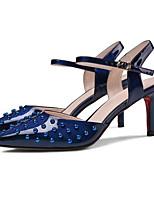 Недорогие -Жен. Комфортная обувь Синтетика Лето Обувь на каблуках На шпильке Белый / Красный / Синий
