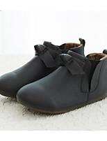 Недорогие -Девочки Обувь Кожа Зима Удобная обувь Ботинки Бант для Дети Черный / Красный / Розовый
