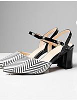Недорогие -Жен. Комфортная обувь Наппа Leather Лето Обувь на каблуках На толстом каблуке Черный