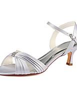 abordables -Femme Escarpins Satin Eté Chaussures de mariage Kitten Heel Bout ouvert Cristal Argent / Mariage / Soirée & Evénement