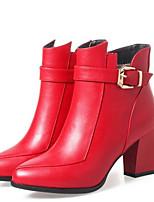 Недорогие -Жен. Комфортная обувь Полиуретан Наступила зима Обувь на каблуках На толстом каблуке Черный / Красный / Темно-зеленый