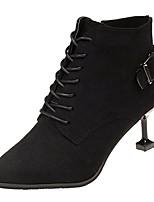 billiga -Dam Fashion Boots PU Höst vinter Ledigt Stövlar Liten klack Spetsig tå Korta stövlar / ankelstövlar Svart / Mörkbrun