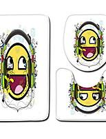 abordables -3 Pièces Dessin Animé Tapis Anti-Dérapants Polyester Elastique Tissé 100g / m2 Animal Rond / Rectangle Salle de Bain Mignon