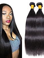 Недорогие -6 Связок Евро-Азиатские волосы / Индийские волосы Прямой Необработанные / Натуральные волосы Подарки / Человека ткет Волосы / Сувениры для чаепития 8-28 дюймовый Естественный цвет