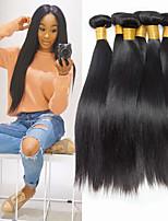 Недорогие -6 Связок Монгольские волосы Прямой 8A Натуральные волосы Удлинитель Накладки из натуральных волос 8-28 дюймовый Черный Естественный цвет Ткет человеческих волос Машинное плетение