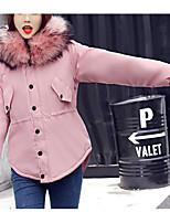 Недорогие -Жен. Повседневные Однотонный Длинная На подкладке, Полиэстер Длинный рукав Капюшон Черный / Розовый / Военно-зеленный L / XL / XXL