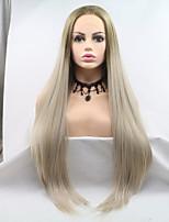 Недорогие -Sylvia Синтетические кружевные передние парики Естественные прямые Золотистый Стрижка каскад 130% Человека Плотность волос Искусственные волосы 26 дюймовый Женский Золотистый Парик Жен. Средняя длина