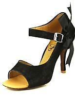 baratos -Mulheres Sapatos de Dança Latina Sintéticos Salto Salto Alto Magro Sapatos de Dança Preto / Amarelo / Vermelho Escuro