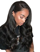 Недорогие -Remy Полностью ленточные Парик Бразильские волосы Естественные кудри Парик Стрижка каскад / Боковая часть 130% Природные волосы / Для темнокожих женщин / Необработанные Черный Жен. Длинные