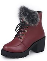 Недорогие -Жен. Fashion Boots Полиуретан Зима Ботинки На толстом каблуке Круглый носок Сапоги до середины икры Черный / Винный