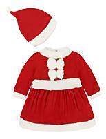 Недорогие -малыш Девочки Активный / Классический Дед Мороз Однотонный Длинный рукав 1 предмет Красный