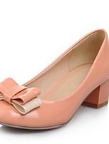 baratos -Mulheres Sapatos Confortáveis Couro Envernizado Primavera Saltos Salto Robusto Preto / Vermelho / Rosa claro