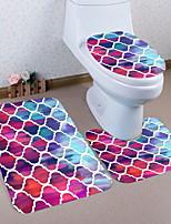 Недорогие -3 предмета Традиционный Коврики для ванны 100 г / м2 полиэфирный стреч-трикотаж Креатив Прямоугольная Ванная комната Очаровательный