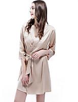 abordables -V Profond Satin & Soie Pyjamas Femme Couleur Pleine