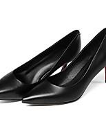 Недорогие -Жен. Балетки Наппа Leather Осень Обувь на каблуках На шпильке Черный