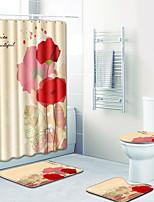 Недорогие -1 комплект Традиционный Коврики для ванны 100 г / м2 полиэфирный стреч-трикотаж Цветочный принт Прямоугольная Ванная комната Креатив