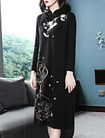 Недорогие -Жен. Изысканный Трикотаж Платье - Цветочный принт, Вышивка Средней длины