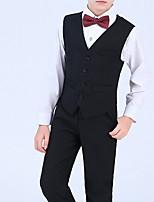 Недорогие -Дети Мальчики Активный Однотонный Длинный рукав Обычная Полиэстер Набор одежды Черный 140