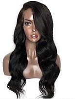 Недорогие -Remy Лента спереди Парик Бразильские волосы Естественные кудри Парик Стрижка каскад 130% Плотность волос Природные волосы Боковая часть Для темнокожих женщин Черный Жен.