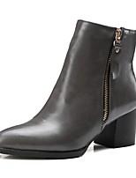 baratos -Mulheres Fashion Boots Couro Ecológico Outono Botas Salto Robusto Dedo Fechado Botas Curtas / Ankle Preto / Cinzento / Castanho Claro