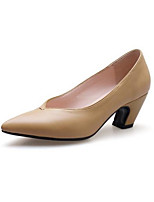 Недорогие -Жен. Балетки Наппа Leather Осень Обувь на каблуках На толстом каблуке Черный / Желтый
