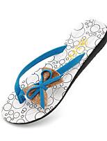 Недорогие -Жен. Комфортная обувь Полиуретан Лето Тапочки и Шлепанцы На плоской подошве Черный / Синий