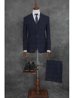 billiga -Randig Skräddarsydd passform Bomull / Polyester Kostym - Trubbig Singelknäppt 1 Knapp