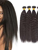 billiga -4 paket Brasilianskt hår / Indiskt hår Yaki Rakt Äkta hår / Obehandlat Mänsligt hår Presenter / cosplay Suits / Human Hår vävar 8-28 tum Naurlig färg Hårförlängning av äkta hår Cosplay / Ny ankomst