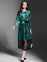 Недорогие -Жен. Элегантный стиль А-силуэт Платье - Контрастных цветов, Кружева Макси